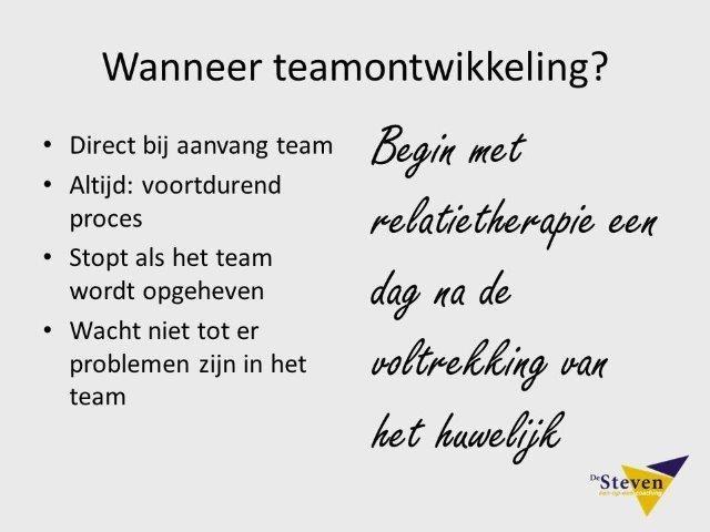 Wanneer teamontwikkeling