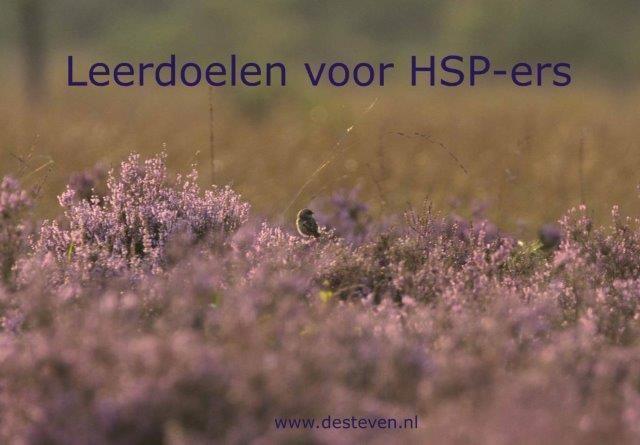 Leerdoelen HSP en hooggevoelige personen