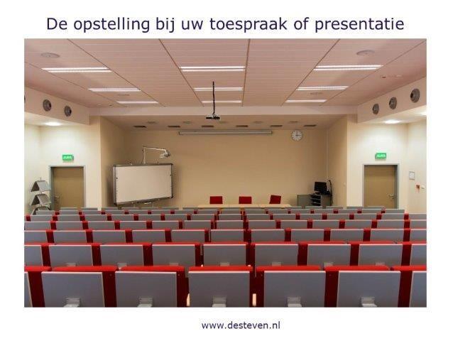 De opstelling bij de presentatie of toespraak